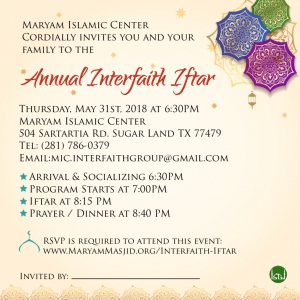 2018 Annual Interfaith Iftar @ Maryam Islamic Center | Sugar Land | Texas | United States