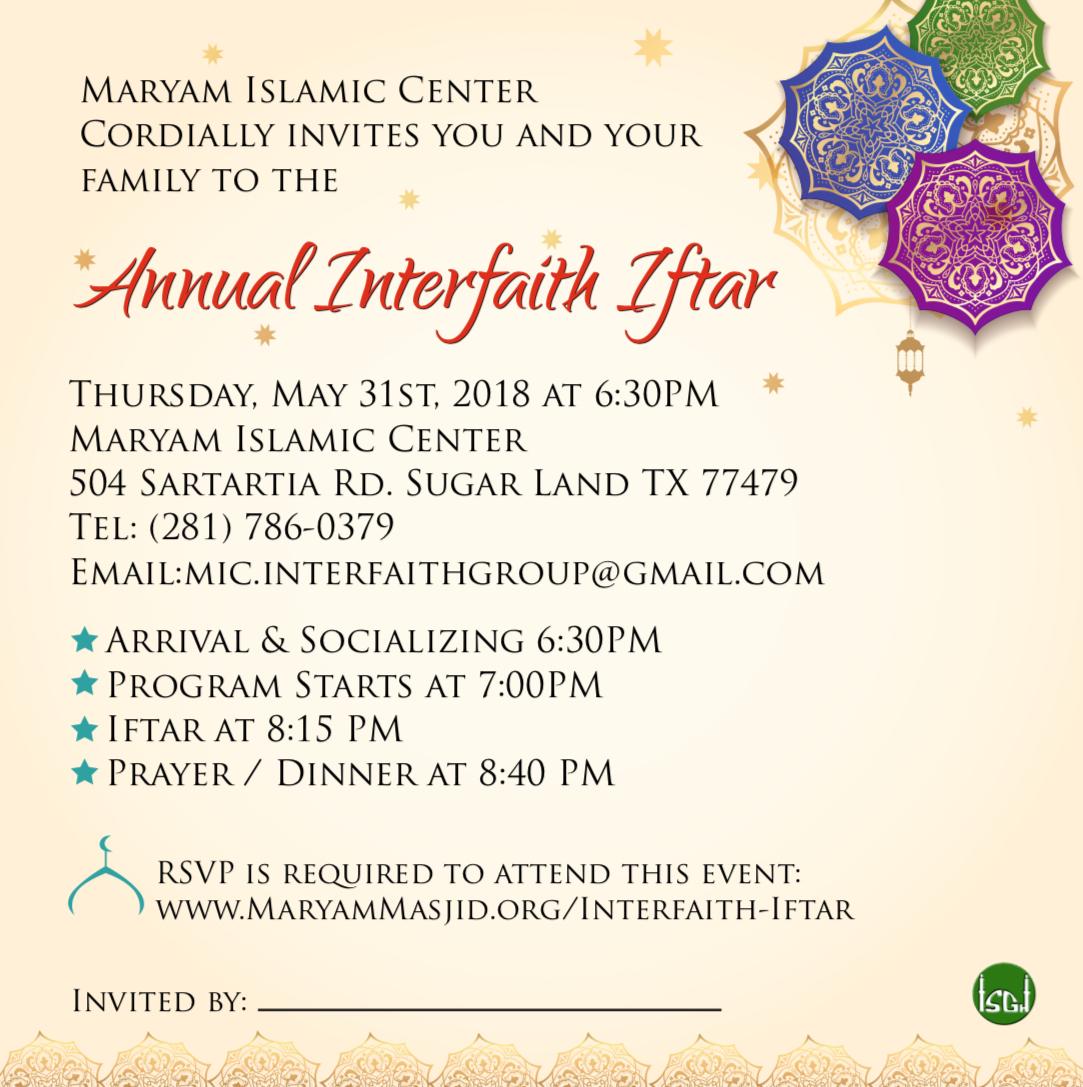 2018 Annual Interfaith Iftar
